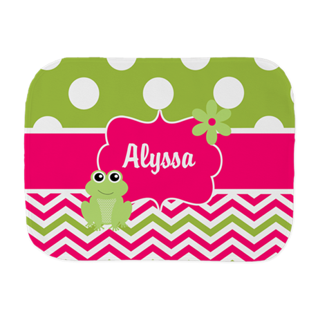 Pink Green Chevron Frog Personalized Burp Cloth