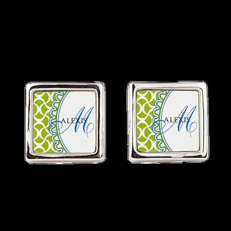 Blue Lime Monogram Cufflinks