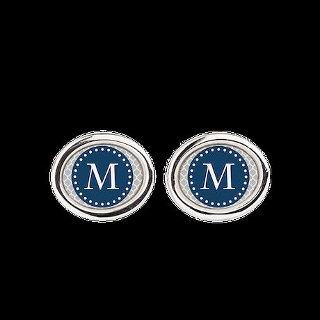 Monogrammed Blue Grey White Moroccan Lattice Cuffl