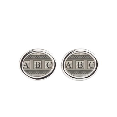 Personalizable Marble Monogram Oval Cufflinks