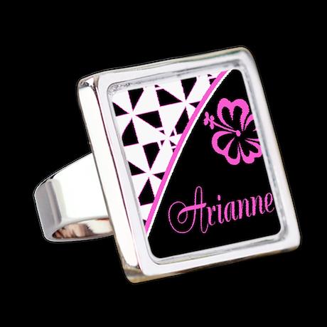 Stylish Hibiscus Pink N Black - Custom Ring