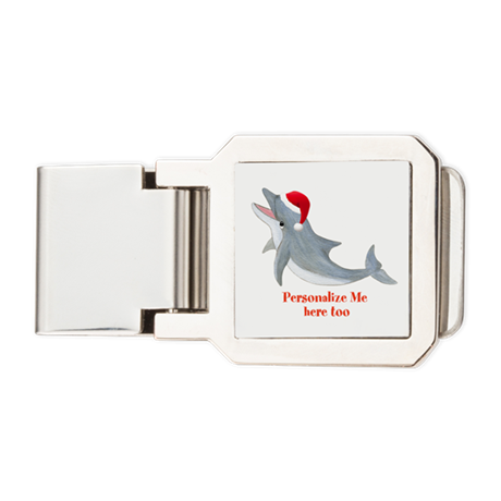 Personalized Christmas Dolphin Money Clip