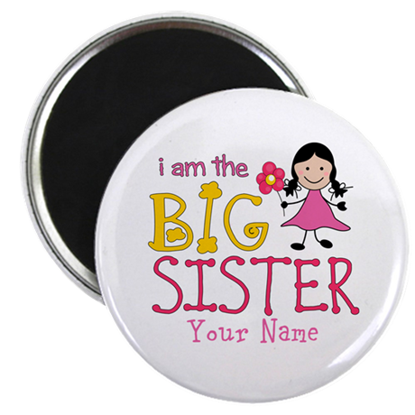 "Stick Figure Flower Big Sister 2.25"" Magnet (10 pa"