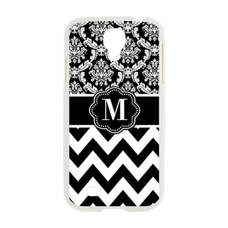 Black White Chevron Damask Monogram Samsung Galaxy