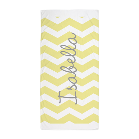 personalized yellow chevron beach towel by admin cp49789583. Black Bedroom Furniture Sets. Home Design Ideas