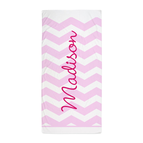 customized name pink chevron beach towel by admin cp49789583. Black Bedroom Furniture Sets. Home Design Ideas