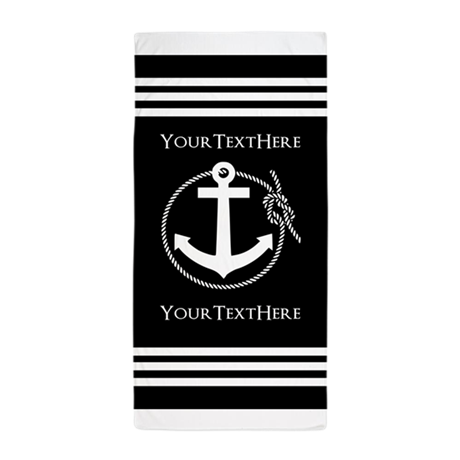 personalized black and white anchor an beach towel by customgifts123. Black Bedroom Furniture Sets. Home Design Ideas