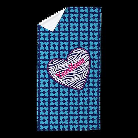 elegant zebra pattern hearts monogram beach towel by bimbyscollections. Black Bedroom Furniture Sets. Home Design Ideas
