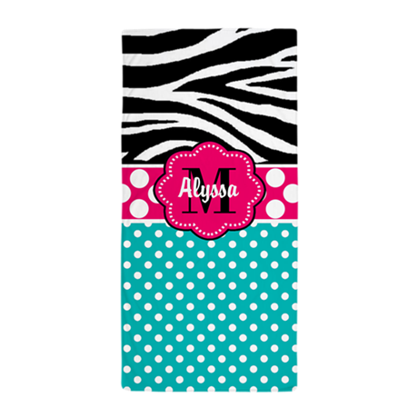 pink blue zebra personalized beach towel by cupcakesandsprinklesbirthdaytees. Black Bedroom Furniture Sets. Home Design Ideas