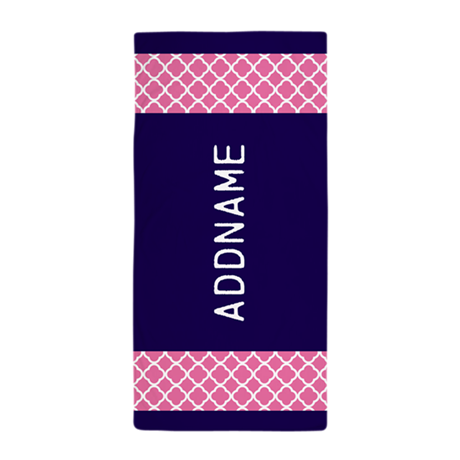 navy pink quatrefoil personalized beach towel by customgifts123. Black Bedroom Furniture Sets. Home Design Ideas