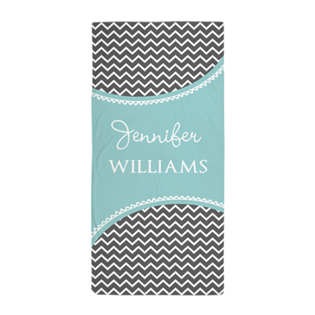 gray and aqua chveron personalized beach towel by bimbyspersonalizedgifts. Black Bedroom Furniture Sets. Home Design Ideas