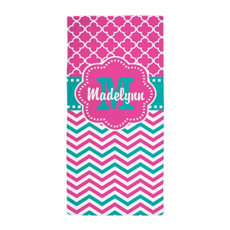 pink teal quatrefoil personalized beach towel by cupcakesandsprinklesbirthdaytees. Black Bedroom Furniture Sets. Home Design Ideas