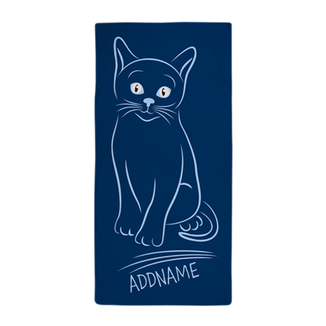 navy hand drawn cat personalized beach towel by customgifts123. Black Bedroom Furniture Sets. Home Design Ideas