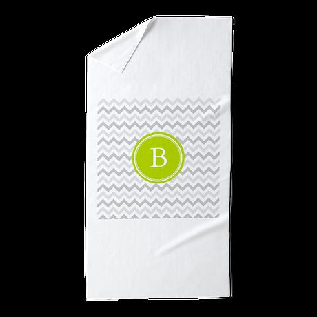 Green Grey Chevron Monogram Beach Towel