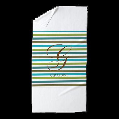 Custom Monogram Elegant Stripe Beach Towel