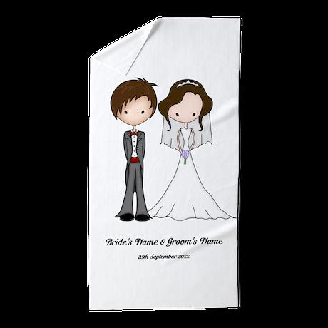 Bride Groom Cartoon 1 Beach Towel