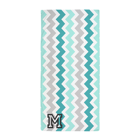 Aqua Grey Chevron Monogram Beach Towel