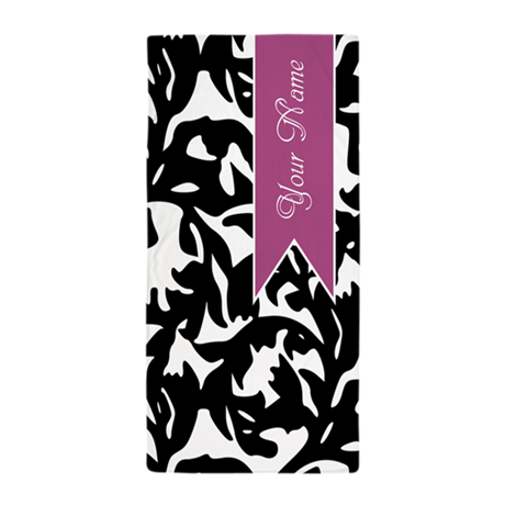 Black and White Pattern with Purple Banner Beach T