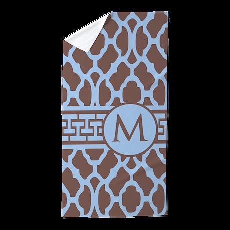 Teal Coffee Pattern Monogram Beach Towel