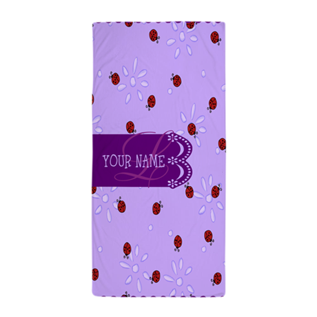 Lavender Purple Lady Bug Monogram Beach Towel