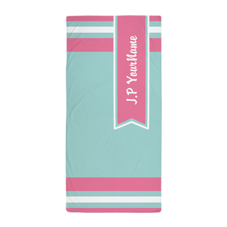 Aqua and Pink Custom Monogram Beach Towel