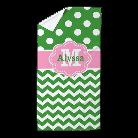 Pink Green Chevron Dots Personalized Beach Towel