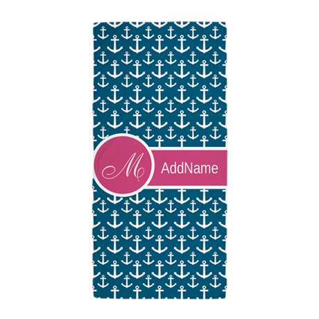 Anchor Pattern Monogram Beach Towel
