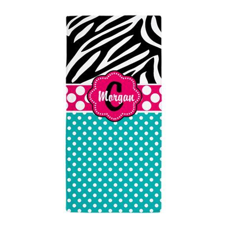 Teal Pink Dots Zebra Personalized Beach Towel