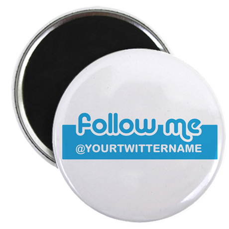 "Personalizable Twitter Follow 2.25"" Magnet (100 pa"