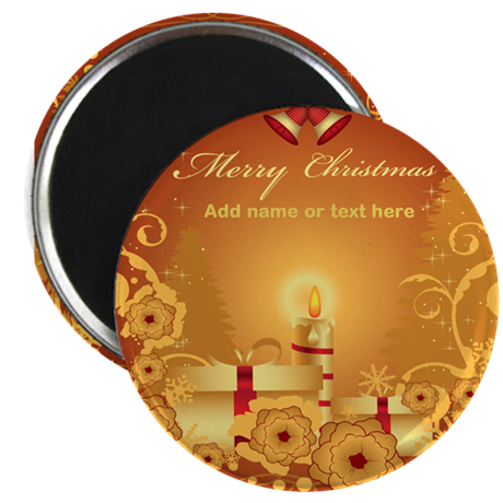 """Luxury gold and red Merry Chr 2.25"""" Magnet (100 pa"""