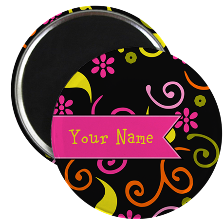 "Girly Floral Swirls Monogram 2.25"" Magnet (100 pac"