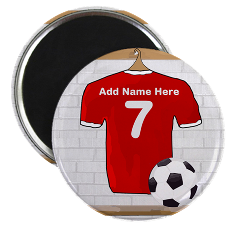 "Red Customizable Soccer footb 2.25"" Magnet (100 pa"