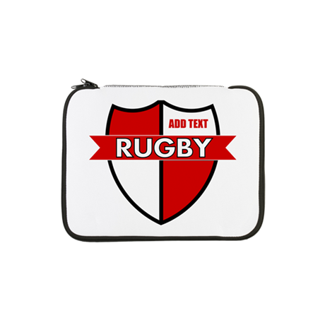 """Rugby Shield White Red 13"""" Laptop Sleeve"""