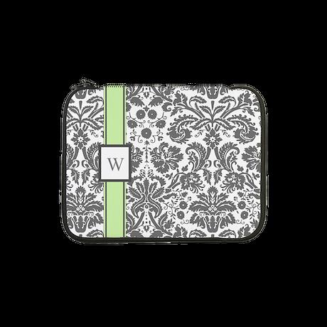 "Mint Grey Damask Monogram 13"" Laptop Sleeve"