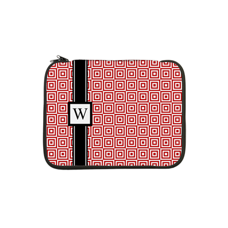"Red Black Squares Monogram 13"" Laptop Sleeve"