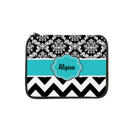 "Blue Black Damask Chevron 13"" Laptop Sleeve"