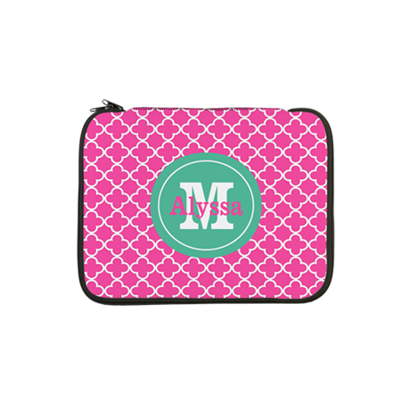 "Pink Green Quatrefoil Monogram 13"" Laptop Sleeve"