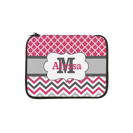 "Pink Gray Chevron Quatrefoil Personalized 13"" Lapt"