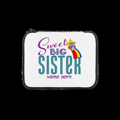 "Custom Sweet Big Sister Owl 13"" Laptop Sleeve"