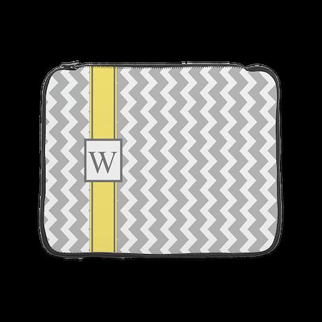 "Grey Yellow Chevron Monogram 15"" Laptop Sleev"
