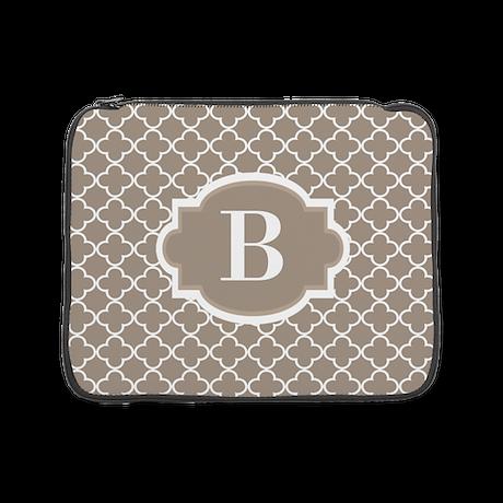 "Beige Quatrefoil Monogram 15"" Laptop Sleeve"