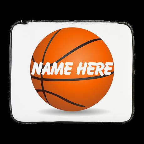 "Personalized Basketball Ball 17"" Laptop Sleev"