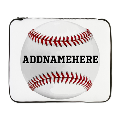 "Personalized Baseball Red/White 17"" Laptop Sleeve"