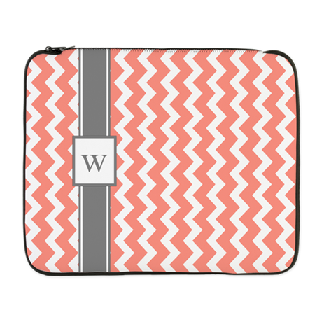 "Coral Grey Chevron Monogram 17"" Laptop Sleeve"