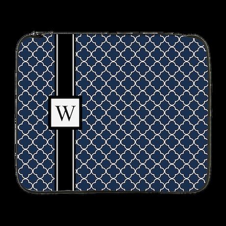 """Blue Black Quatrefoil Monogram 17"""" Laptop Sle"""