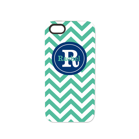 Green Navy Chevron Personalized iPhone 5/5S Tough