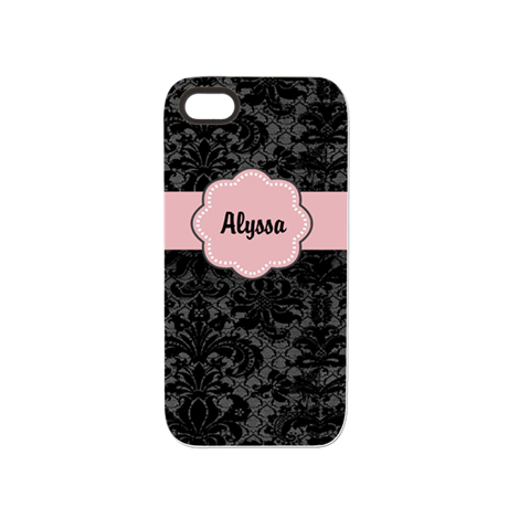 Black Pink Damask Personalized iPhone 5/5S Tough C