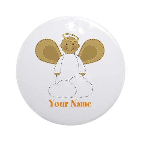 Personalized Christmas Angel Ornament (Round)
