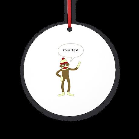 Sock Monkey Comic Speech Bubble Ornament (Round)