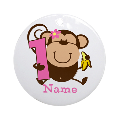 Personalized Monkey Girl 1st Birthday Ornament (Ro